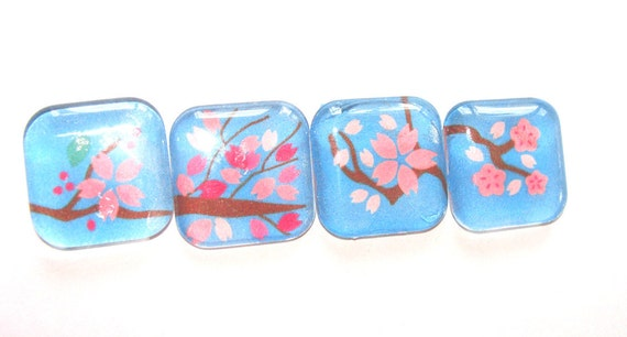 Glass Spring Magnets Sakura Pink Blossoms on Sky Blue Background Set of 4