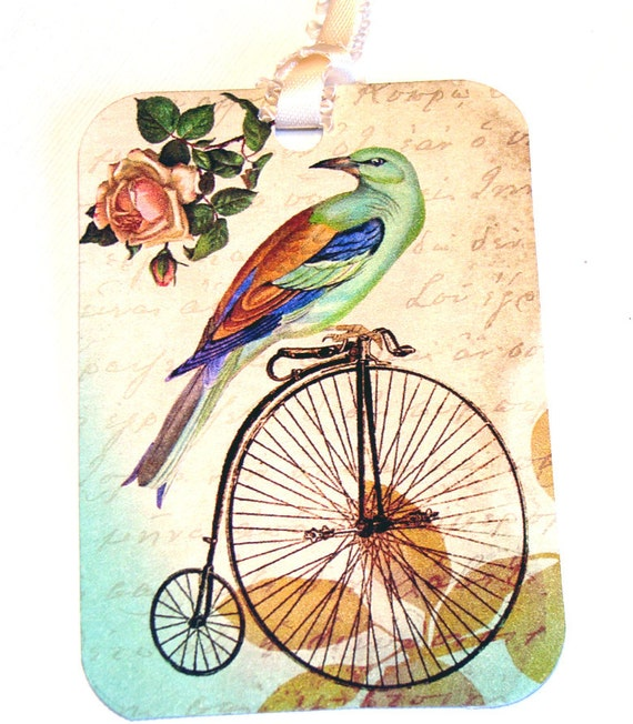 Bicycles N Birds - Gift Tags - Set of 6 - Vintage Look - Vintage Bicycles - Cottage Chic - Nature Tags -  Bird Tag - Flower Tag - Thank yous