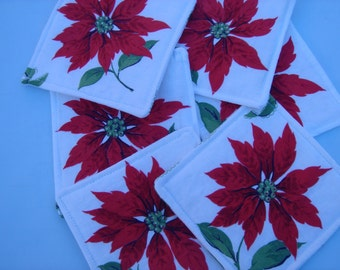 Fabric Coasters In Red and White Poinsettia Christmas Six Coasters
