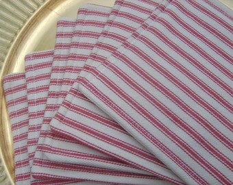 Fabric Coasters Red White Ticking Stripe Reversible, Set of Six