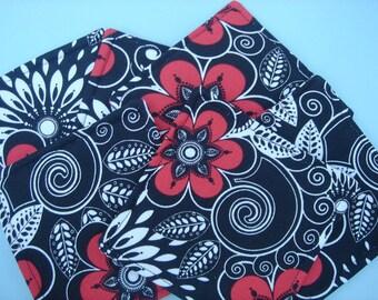 Fabric Coasters Red and Black Modern Print Six