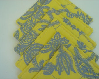 Fabric Coasters Yellow and Grey Modern Amy Butler Six