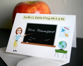 Teacher Gift Personalized Teacher Mini Note Cards End of School Gift Perfect for Elementary Teachers and PreK Unique Teacher Illustration