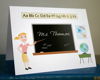 Looks Like My Teacher - TEACHER GIFT -  Personalized Note Cards (10) - Holiday Gift - Retro Style