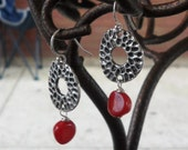 Red Coral and Tibetan Silver Earrings