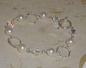 RESERVED for LISA- Beautiful Pearl, Crystal, and Hammered Silver Bracelet