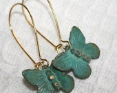 Butterfly earrings,Green Verdigris patina earrings, Victorian Butterfly earrings, Green Butterflies golden kidney earwires