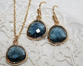 Sapphire Jewelry,Montana Blue Drop Earrings Necklace Jewelry Set,Bridesmaids favors,Bridesmaid Jewelry,Blue Jewelry Set,Blue Bridal Jewelry