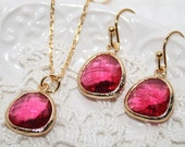 Red Bridal Jewelry Summer Wedding Ruby Red crystal Necklace Earrings Set, Bridesmaids favors, Bridesmaid Jewelry - Red Wedding Jewelry Set