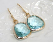 Aquamarine Earrings Trimmed in Gold,Ocean Blue Aqua Crystal faceted glass Drop bezel set Earrings , Bridesmaids Wedding Earrings