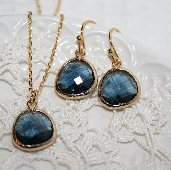 Sapphire JewelryMontana Blue Drop Earrings Necklace Jewelry