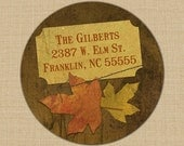 Brown Maple Leaves - Custom Address Labels or Stickers