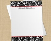Classic Damask - Set of 8 CUSTOM Personalized Flat Note Cards/ Stationery