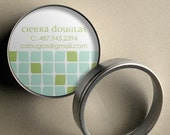 Cierra (Mod Cubes) - 50 CUSTOM Round Calling Cards/ Business Cards/ Tags in Tin