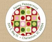 Retro Christmas Dots - CUSTOM Christmas Address Labels or Stickers