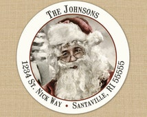 Vintage Santa Claus - CUSTOM Christmas Address Labels or Stickers