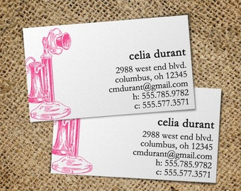 Vintage Candlestick Telephone - 50 Custom Business or Calling Cards