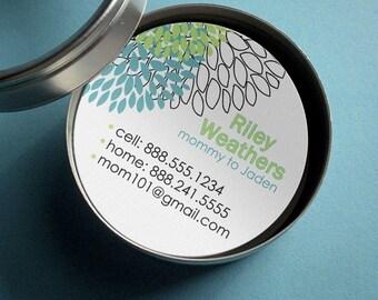 Riley (Retro Dahlias) - 50 CUSTOM Round Calling Cards/ Business Cards/ Tags in Tin