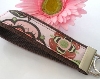 Brown and Pink Mod Floral Wristlet / Key Fob / Keychain