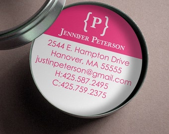 Modern Monogram  - 50 CUSTOM Round Calling Cards/ Business Cards in Tin