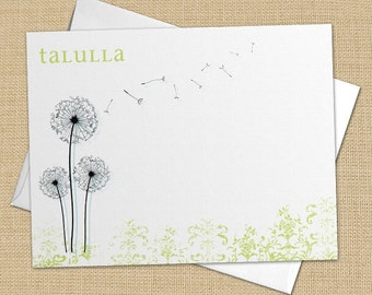 Dandy Dandelion - Set of 8 CUSTOM Personalized Flat Note Cards/ Stationery