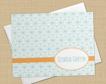 Retro Circles -  Set of 8 CUSTOM Personalized Flat Note Cards/ Stationery