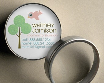 Whitney (Retro Bird and Tree) - 50 CUSTOM Round Calling Cards/ Business Cards/ Tags in Tin