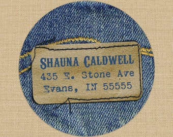 Demin Blue Jean Custom Address Labels or Stickers