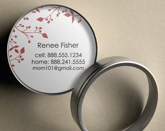 Renee (Twisted Vines) 50 CUSTOM Round Calling Cards/ Business Cards/ Tags in Tin
