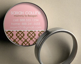 Sarah (Clean and Classic) - 50 CUSTOM Calling Cards/ Business Cards/ Tags in Tin
