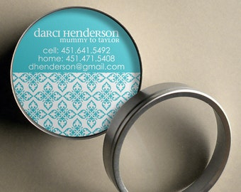 Darci (Mod Ornamental) 50 CUSTOM Round Calling Cards/ Business Cards/ Tags in Tin