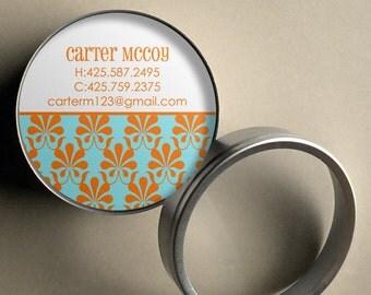 Carter (Mod Damask) - 50 CUSTOMIZABLE Round Calling Cards/ Business Cards in Tin