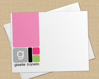 Retro Colorblock Squares - Set of 8 CUSTOM Personalized Flat Note Cards/ Stationery
