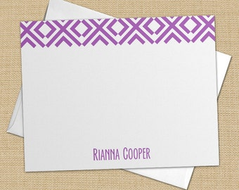 Mod Diamonds - Set of 8 CUSTOM Personalized Flat Note Cards/ Stationery