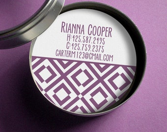 Mod Diamonds - 50 CUSTOM Round Calling Cards/ Business Cards/ Tags in Tin