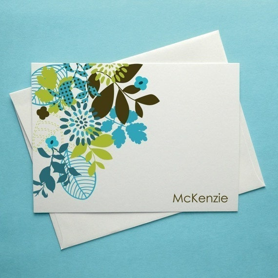 McKenzie (Mod Floral) Set of 8 CUSTOM Personalized Note Cards-  You CHOOSE the Colors and Font