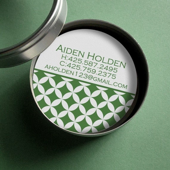 Mod Circles - 50 CUSTOM Round Calling Cards/ Business Cards/ Tags in Tin