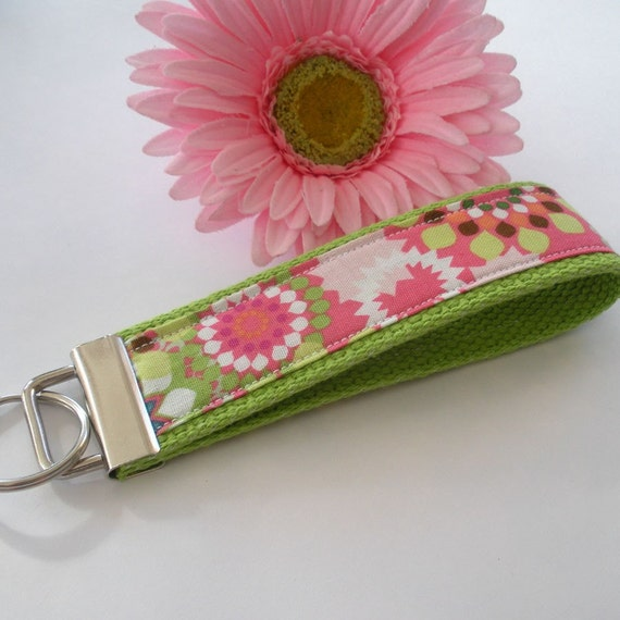 Lime Green & Pink Retro Floral Wristlet / Key Fob / Keychain