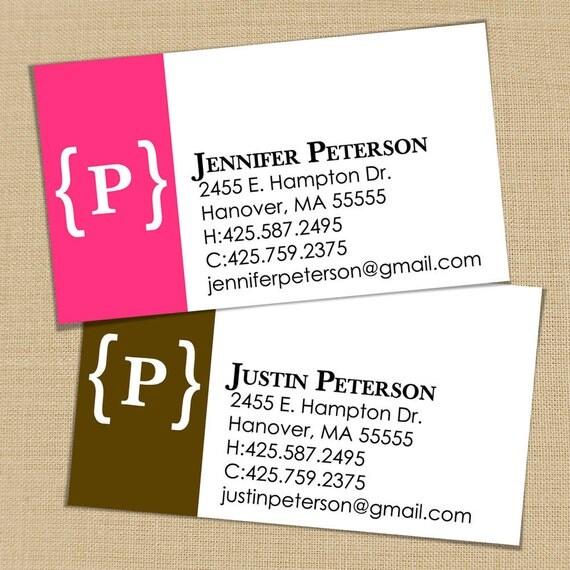 Modern Monogram - 50 CUSTOM Business or Calling Cards