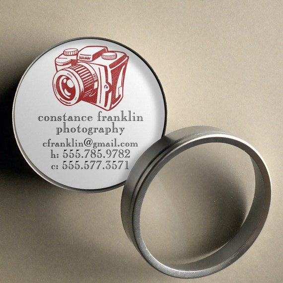 Classic Camera  - 50 CUSTOM Round Calling Cards/ Business Cards or Tags in Tin