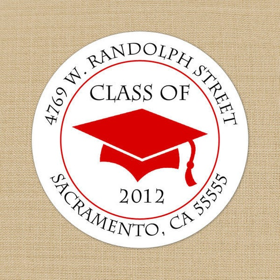 Graduation Cap Custom Address Labels or Stickers