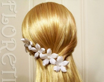 White Small Orchid Stephanotis Pearl Bridal Silk Flower Hair Pins, Set of 5