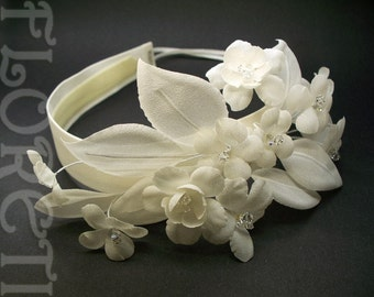 Ivory Cherry N Stephanotis Couture Bridal Headband w Crystals