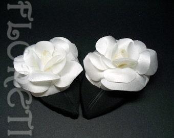 White Camellia Satin Flower Wedding Shoe Accessories w Black Leaf Bridal Shoe Clips