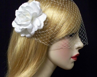 Birdcage Wedding Veil Set White Bandeau n Rose Hair Flower Couture -Ready Made