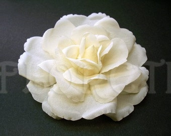 Ivory Rose Rochelle Couture Silk Flower Bridal Hair Clip Accessory -Ready Made