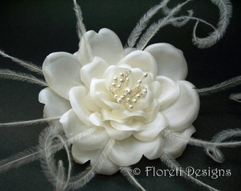Silk Rose Feather Bridal Hair Flower Accessory Off White -Ready Made