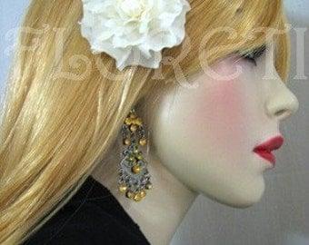 Small Bridal Hair Flower Silk Handmade Ivory Gardenia  -Ready Made
