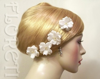 Small Rose Silk Bobby Pins Wedding Hair Flowers Ivory Pearls Crystals, Set of 4 -Ready Made