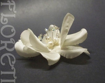 Couture Light Ivory Dogwood Rose Silk Bridal Hair Accessory -Ready Made